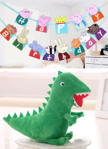PEPPA Wutz compleanno bandiere e dinosauri peluche di Schorsch