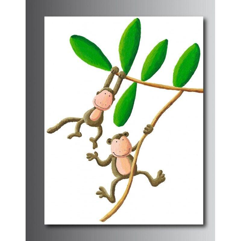 Tableaux toile toile toile déco rectangle verdeicale singe marrant 42107422 38c022