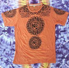 Babu T-Shirt Herren Goa Tribal Psy OM Trance Yoga Mandala Orange Vintage Size XL