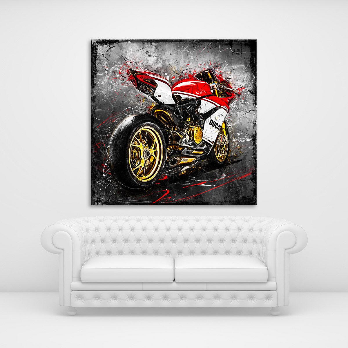 Ducati Panigale Leinwand Bild Modern Abstrakt Motorrad Wandbild Poster XXL