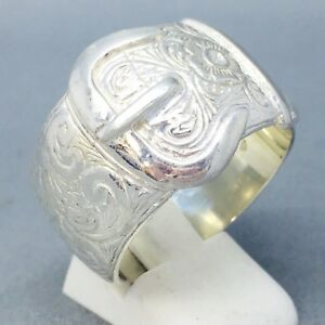 925-STERLING-SOLID-SILVER-WEDDING-SINGLE-BUCKLE-BAND-RING-SIZE-034-Z-2-034-223
