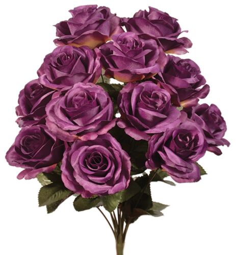 Aubergine Purple 12 Open Roses Bush Silk Flowers Wedding Bouquets Eggplant Craft
