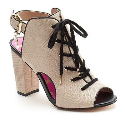 Juicy Couture Women's Lace-Up Peep Toe High Heels Tan [157P]