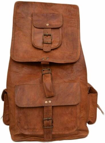 """20/"""" Real Well Made Leather Men/'s Backpack Satchel Vintage Bag laptop Rucksack"""