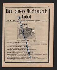 KREFELD, Anzeige 1909, Herm. Schroers Maschinen-Fabrik