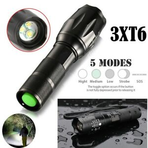 15000LM-3xT6-LED-Zoomable-Flashlight-Waterproof-18650-Torch-Light-Lamp-Aluminum