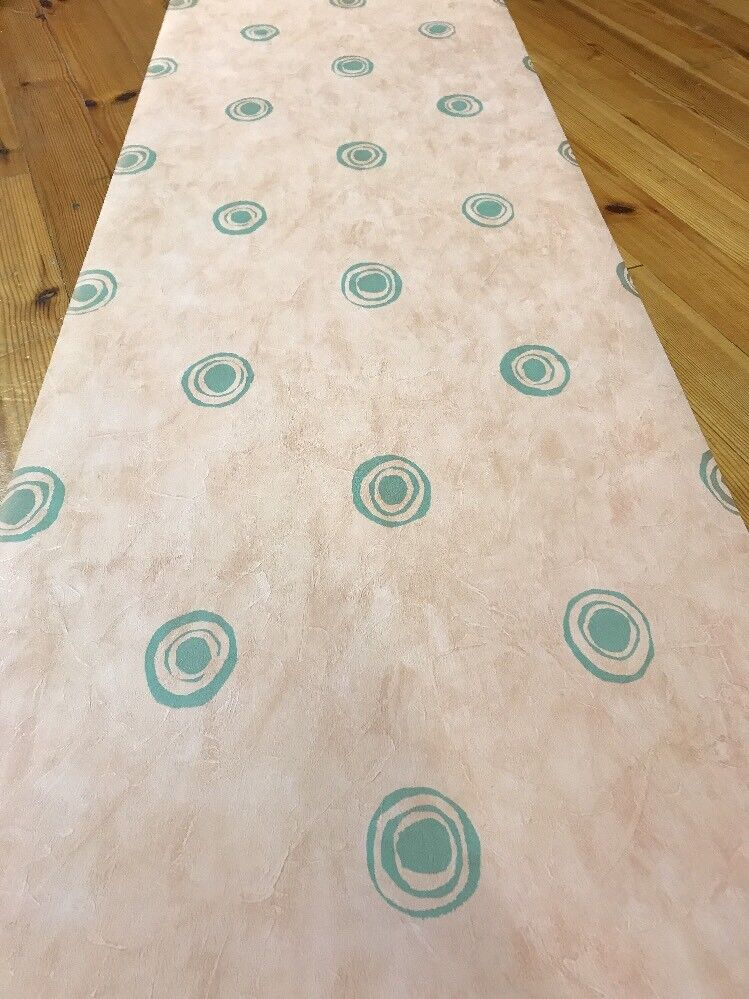 3 Rolls Pale Terracotta & Green Circle Motif Designer Harlequin Wallpaper