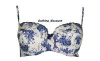Womens ladies Floral Balcony lace Blue Bra set lingerie 34 36 38 b c d BRAND NEW