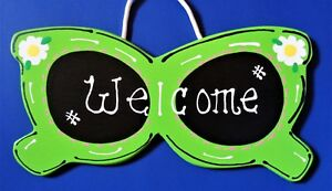 SUNGLASSES WELCOME SIGN Wall Hanger Hanging Plaque SEASONAL Pool Summer Decor
