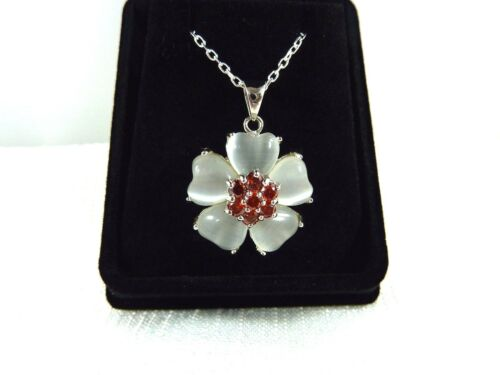 Created Grey Mother Of Pearl & Red Cubic Zirconia Sterling Silver Necklace