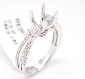 18k White Gold VS2,G 0.46tcw Three Stone Engagement Open Semi Mount Ring 6.25