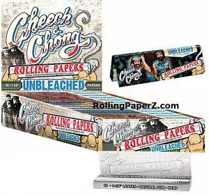 FULL-BOX-25-Packs-Cheech-amp-Chong-UNBLEACHED-HEMP-1-1-4-Cigarette-Rolling-Papers