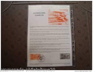 FRANCE-document-officiel-1er-jour-hydravion-CAMS-53-2-3-85