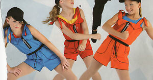 NEW-2-piece-Jazz-costume-OVERALL-SHORTS-TANK-TOP-COLORS-HIPHOP-DANCE