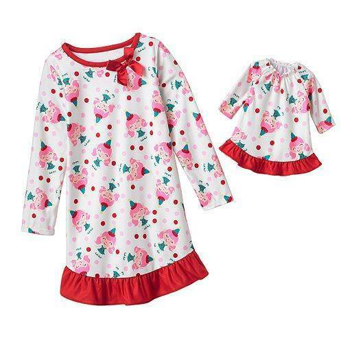 NWT Girls Fleece Christmas Elf Nightgown Size 6X 6 Doll Gown Winter Pajamas Pjs