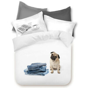 Good-Dog-Pug-Puppy-Pooch-Contemporary-Queen-Quilt-Cover-Set-Dooner