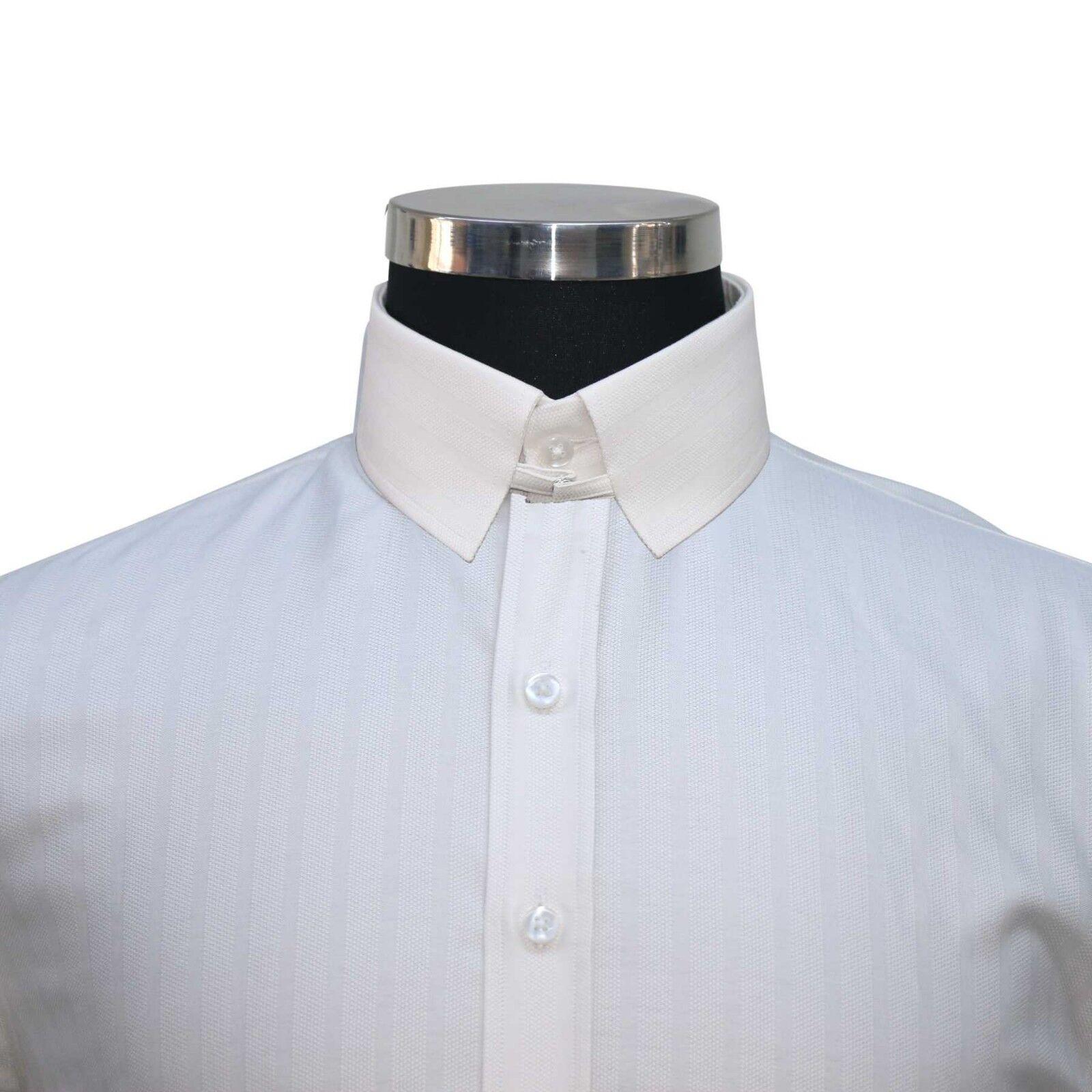 Herren Anello Colletto Camicia di Cotone Bianco Sporco a Righe James Bond Collare