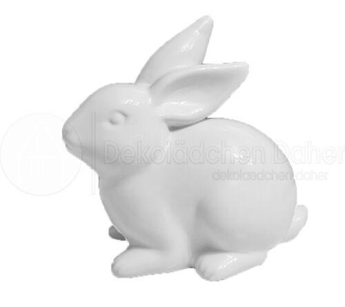 25x15x24 cm Osterhase Ostern Landhaus Hase aus Keramik in weiß glänzend ca