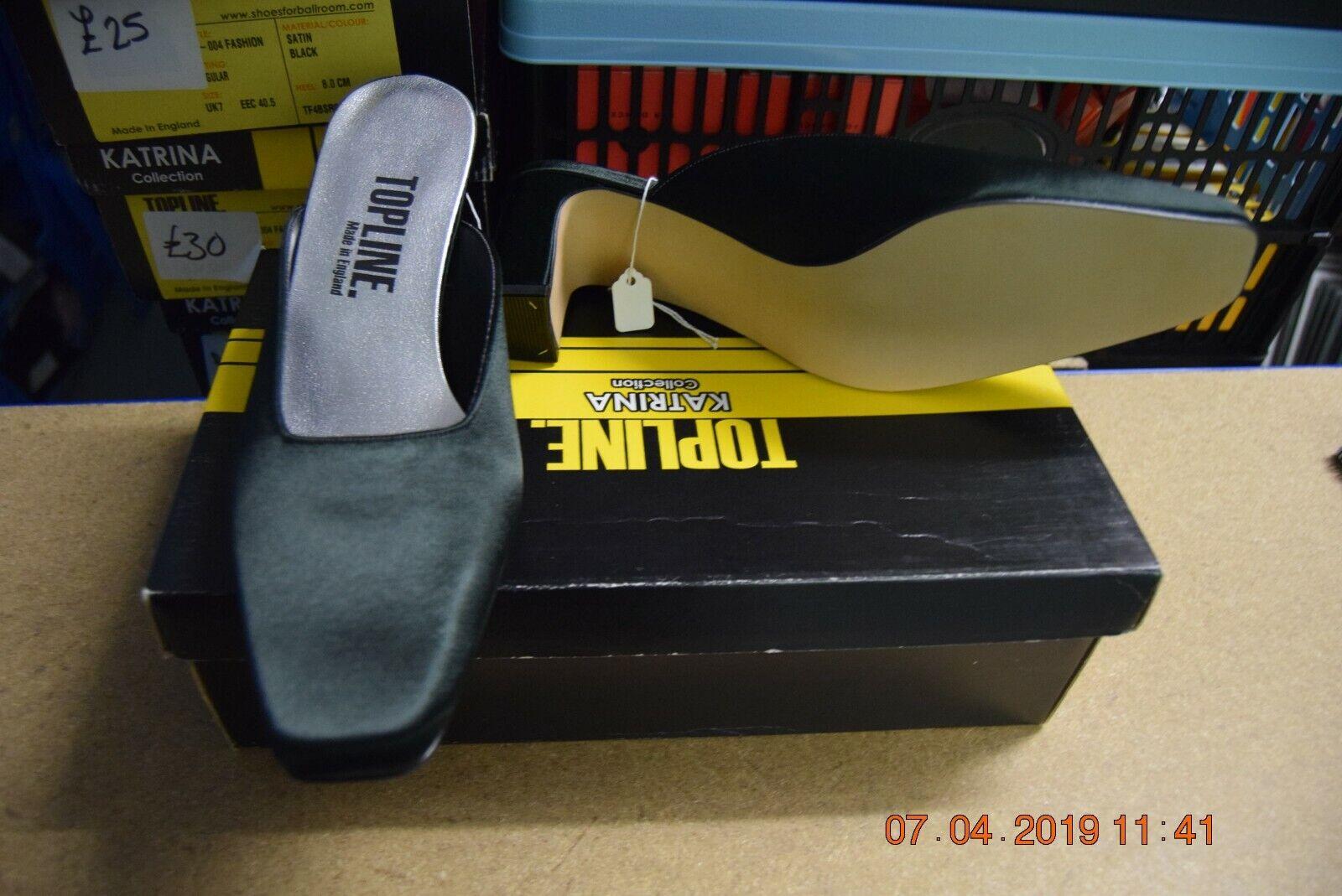 Black satin Topline TF008 Fashion / dance shoes - size UK 6