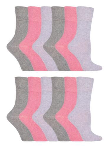 12 Pairs Womens Sockshop Cotton Gentle Grip Socks 4-8 uk,37-42 Eur GG72 Plain