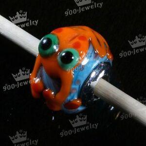 5pcs-16x13mm-Pretty-Handmade-Lampwork-Glass-Big-Hole-Loose-Beads-Orange-Frog