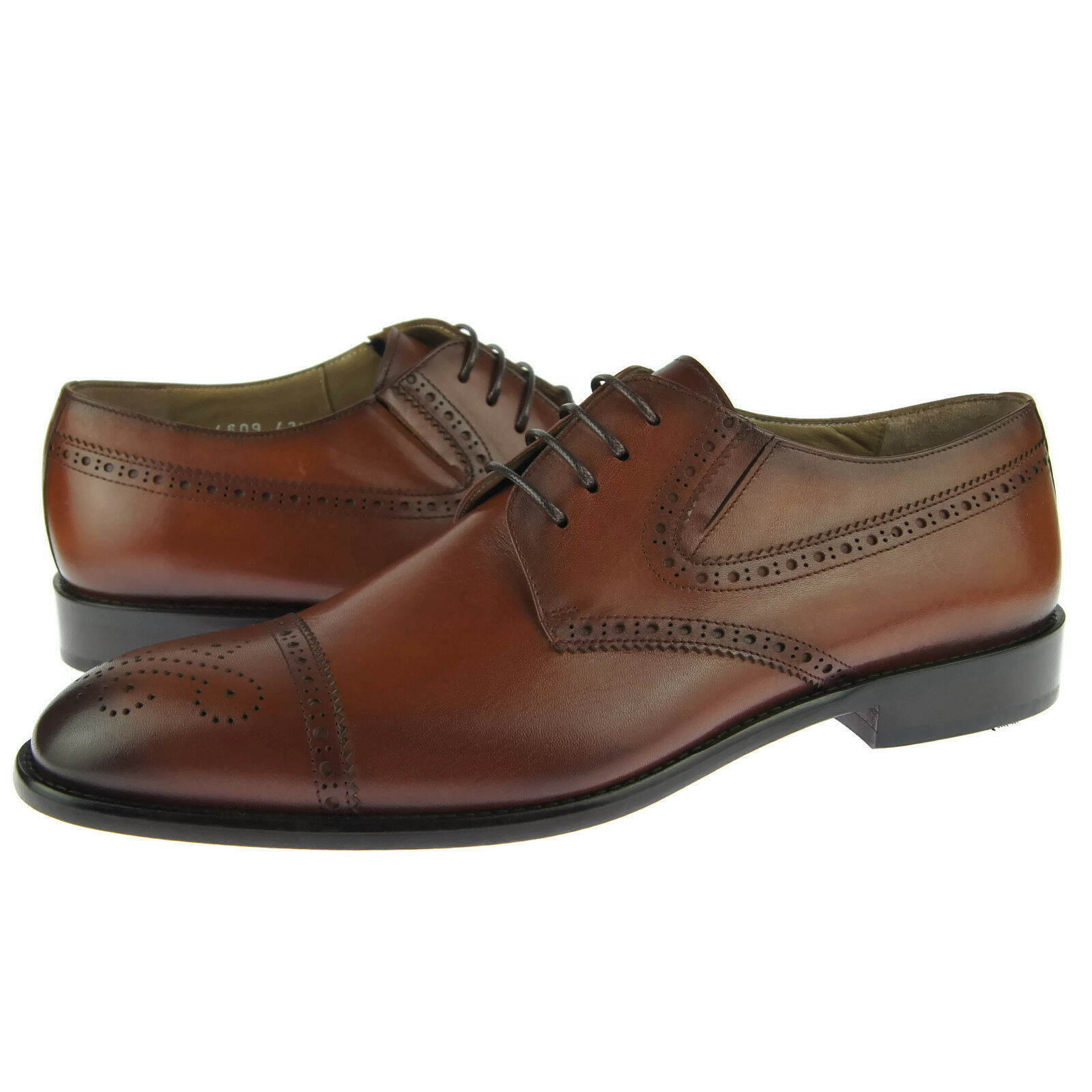Corrente 4609 Cap Toe Derby, Men's Dress Leather shoes, Tobacco