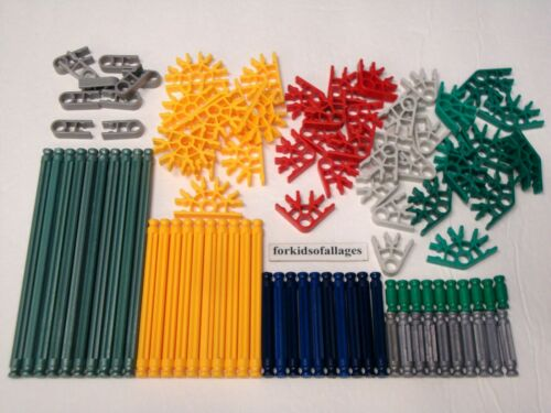100 KNEX RODS CONNECTORS Mixed K/'nex Parts Pieces Lot Red Yellow Blue Green Gray