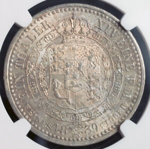 1839-Kingdom-of-Hannover-Ernest-August-I-Scarce-Silver-Thaler-Coin-NGC-MS61