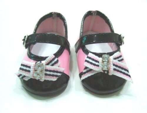 Black Bow Gem Dress Shoes 18 in Doll Clothes Fits American Girl