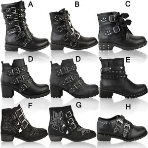 Womens Ladies Studded Flat Ankle Boots