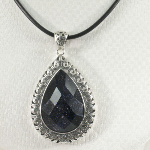 Details about  /Faceted Pear Shaped Cut Blue Sandstone Pendant Solid Sterling Silver .925 TPJ