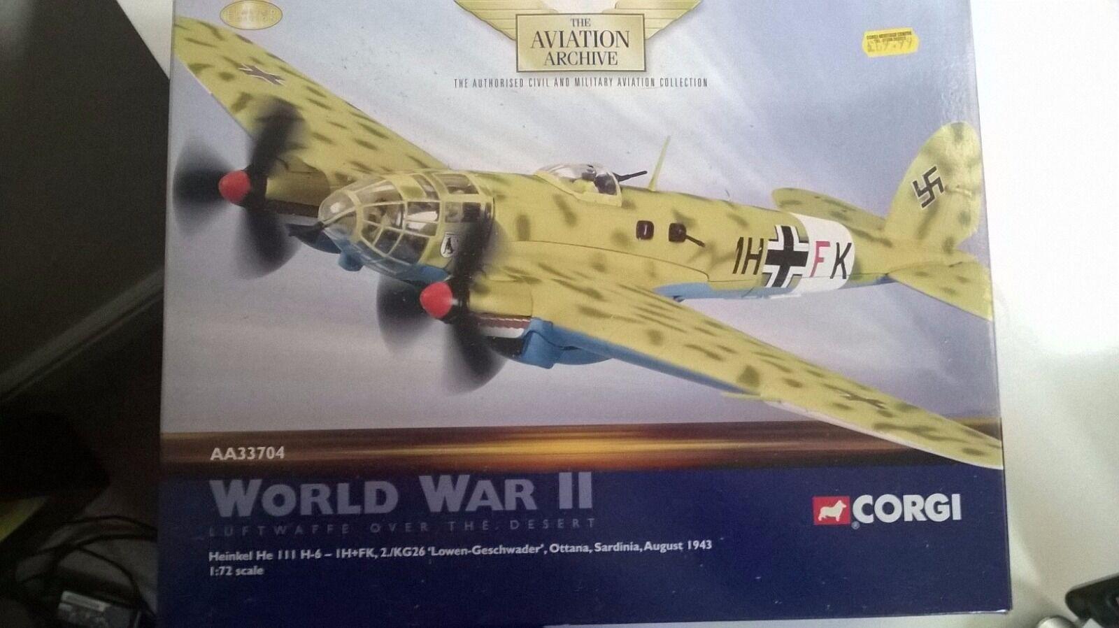 Heinkel HEIII German Bomber CORGI Die cast Avion militaire modèle seconde guerre mondiale