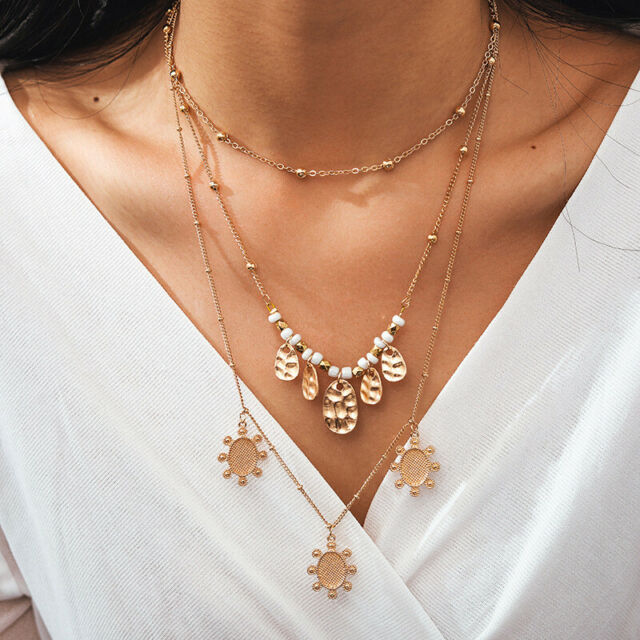 Fashion Women Lady Multilayer Clavicle Necklace Pendant Choker Chain Jewelry New
