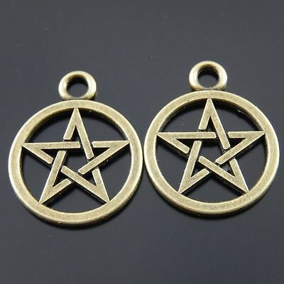 40pcs Antiqued Bronze Tone Hollowed Wiccan Symbol Charms Pendants 20*20mm