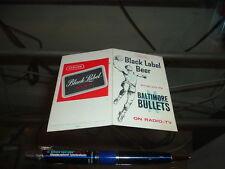 1963 -64 Baltimore Bullets Basketball Pocket Schedule 1st Year Black Label Beer