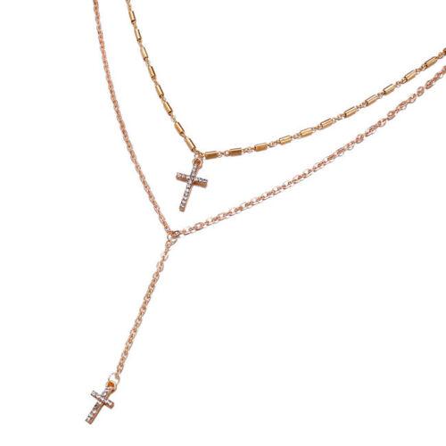 Damas de doble capa con Incrustaciones De Cristal Cruz Collar Colgante Jesús Joyería 6A