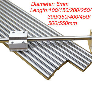 8mm Chromed Smooth Rod Linear Rail Shaft Steel Bearing 100~400mm 3D Printer CNC