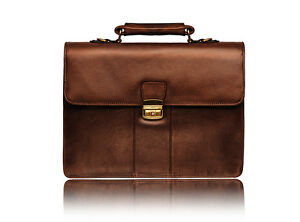 01775 Visconti Large Luxury Genuine Leather Briefcase Shoulder Laptop Bag