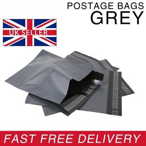 Strong-GREY-Postage-Mailing-Plastic-Self-Seal-Polythene-Bags-All-Sizes