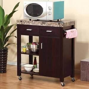 Kitchen Island Buffet Serving Cart Cabinet Drawer Faux
