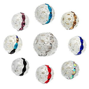 20-Metallperlen-Rondelle-Perlen-Ball-Beads-Strass-9x10mm-M3622