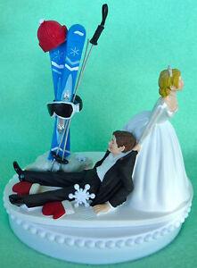 Image Is Loading Wedding Cake Topper Skiing Groom Themed Ski Winter
