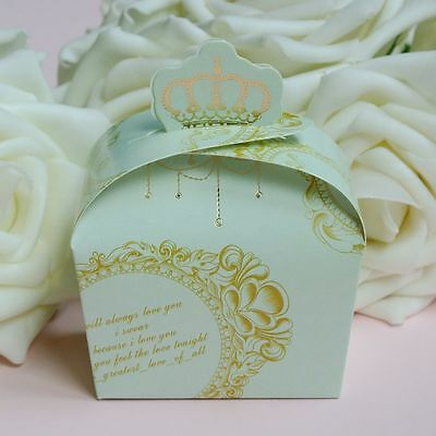 50/100pc Crown Candy Boxes Wedding Party Baby Shower Favors Gift Box Green 011AB