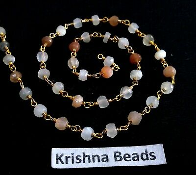 3 Feet Natural Labradorite 3-4mm Bead Faceted 24K Gold Plated Rosary Link Chain