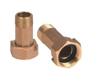 "3//4/"" Water Meter Nipple 1/"" Coupling Nut  Brass Set of 4"
