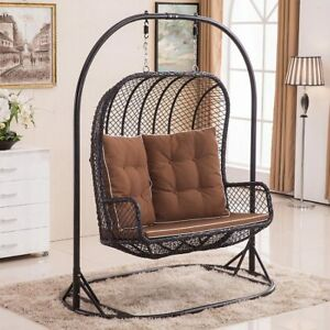 Image Is Loading Large Double Egg Chair Swing Wicker Rattan Hanging