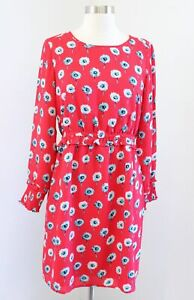 NWT J Crew Red Blue Longfellow Floral Dandelion Printed Dress Size 6 Smocked