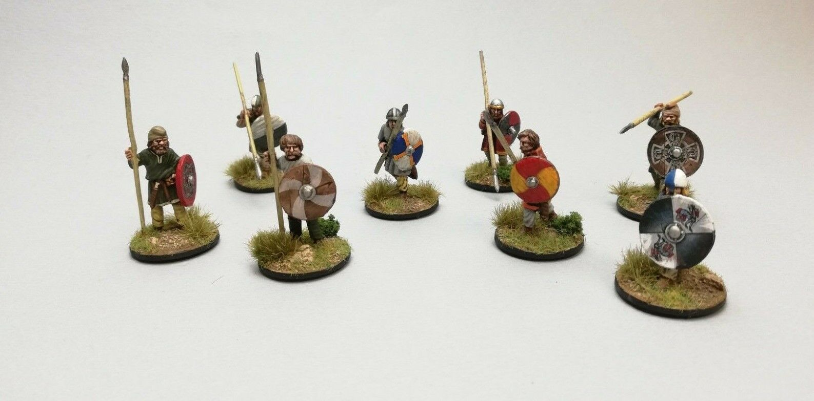 8 warriors with spears Anglo Danish Saxon Saga Dark Age 28mm Pro painted
