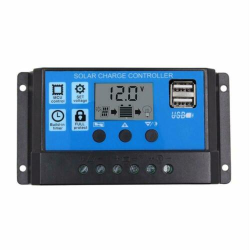 10//20//30A Solar Charge Controller 12V//24V LCD Display Dual USB Solar Panel