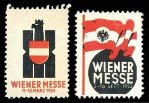 L'autriche Poster Stamps-vienne Fair/wiener Messe - 2 Différents - 1933 & 1934-afficher Le Titre D'origine éGouttage